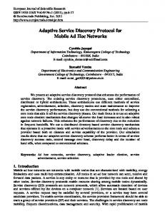 Adaptive Service Discovery Protocol for Mobile Ad Hoc Networks
