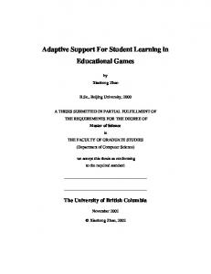 Adaptive Support For Student Learning in Educational Games