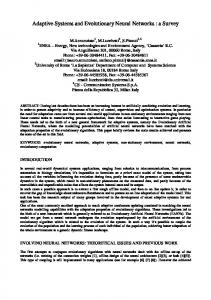 Adaptive Systems and Evolutionary Neural Networks : a ... - CiteSeerX