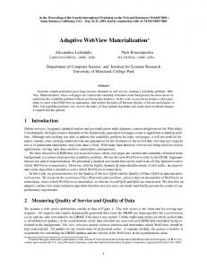 Adaptive WebView Materialization - Semantic Scholar