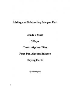 Adding and Subtracting Integers Unit Grade 7 Math 5 Days ... - Index of