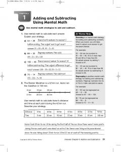 Adding and Subtracting Using Mental Math