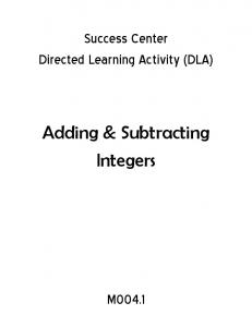 Adding & Subtracting Integers - CMS