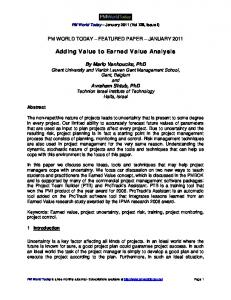 Adding Value to Earned Value Analysis - Ghent University Academic ...