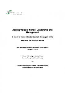 Adding value to school leadership and management