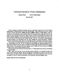 Additional Exercises for Convex Optimization - Stanford University
