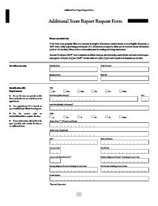 Additional Score Report Request Form
