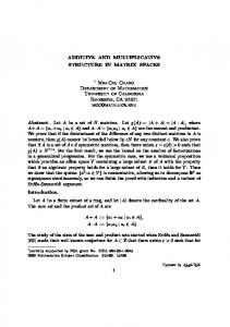 ADDITIVE AND MULTIPLICATIVE STRUCTURE