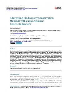 Addressing Biodiversity Conservation Methods with Fagus sylvatica ...