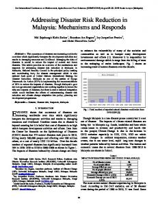 Addressing Disaster Risk Reduction in Malaysia