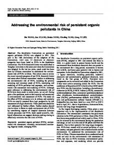 Addressing the environmental risk of persistent organic pollutants in ...