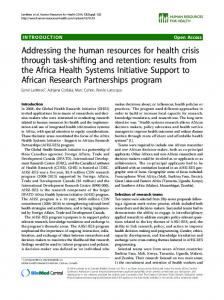 Addressing the human resources for health crisis