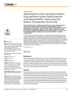 Addressing the under-reporting of adverse drug reactions in ... - PLOS