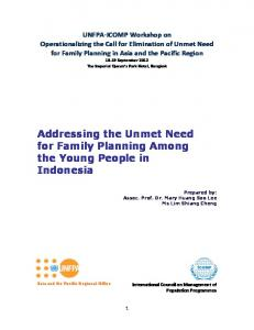 Addressing the Unmet Need for Family Planning Among the Young ...