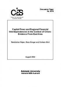 Adelaide University Capital Flows and Regional Financial ...