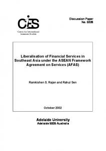 Adelaide University Liberalisation of Financial Services in Southeast ...