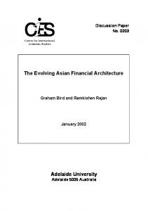 Adelaide University The Evolving Asian Financial Architecture - Core
