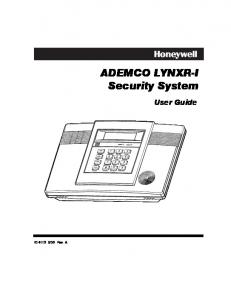 ADEMCO LYNXR-I Security System User Guide