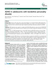ADHD in adolescents with borderline personality disorder