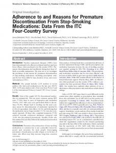 Adherence to and Reasons for Premature Discontinuation ... - CiteSeerX