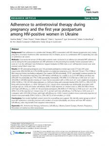 Adherence to antiretroviral therapy during pregnancy ... - BioMedSearch