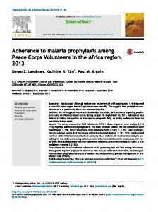 Adherence to malaria prophylaxis among Peace Corps Volunteers in ...