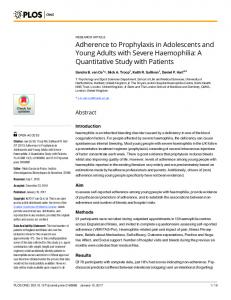 Adherence to Prophylaxis in Adolescents and Young Adults with ... - Plos