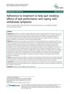 Adherence to treatment to help quit smoking