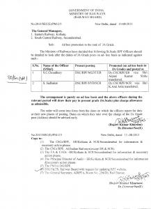 Adhoc promotion of RPF officers. - Indian Railway