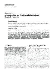 Adiponectin Provides Cardiovascular Protection in Metabolic Syndrome