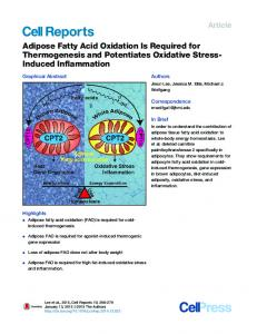 Adipose Fatty Acid Oxidation Is Required for Thermogenesis and ...