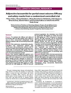 Adjunctive lacosamide for partial-onset seizures ... - Wiley Online Library