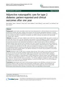 Adjunctive naturopathic care for type 2 diabetes