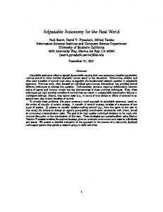 Adjustable Autonomy for the Real World