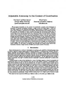 Adjustable Autonomy in the Context of Coordination - Teamcore