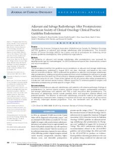 Adjuvant and Salvage Radiotherapy After Prostatectomy