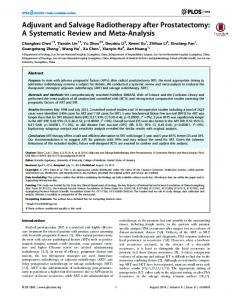 Adjuvant and Salvage Radiotherapy after Prostatectomy - PLOS