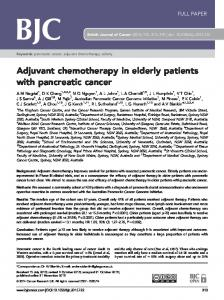 Adjuvant chemotherapy in elderly patients with pancreatic cancer