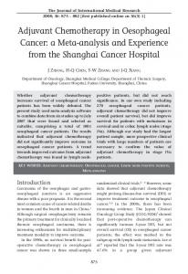 Adjuvant Chemotherapy in Oesophageal Cancer - SAGE Journals