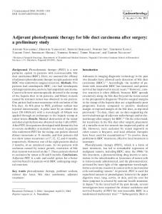 Adjuvant photodynamic therapy for bile duct carcinoma ... - Springer Link