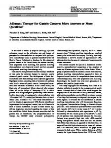 Adjuvant Therapy for Gastric Cancers - Springer Link