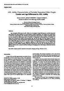 ADL ability characteristics of partially dependent older people: Gender ...