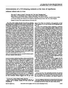 Administration of a CO-releasing molecule at the time of ... - CiteSeerX