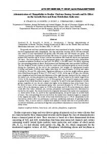 Administration of Clinoptilolite to Broiler Chickens During ... - CiteSeerX