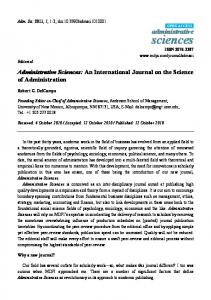 Administrative Sciences: An International Journal on ...