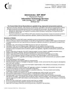 Administrator, SAP ABAP Information Technology Services