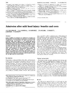 Admission after mild head injury: benefits and costs - Semantic Scholar