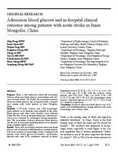 Admission blood glucose and in-hospital clinical ... - Semantic Scholar