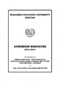 Admission Brochure for U.G. & P.G. Courses Offered by Affiliated ...