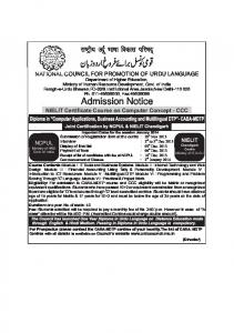 Admission Notice in English - National Council for Promotion of ...